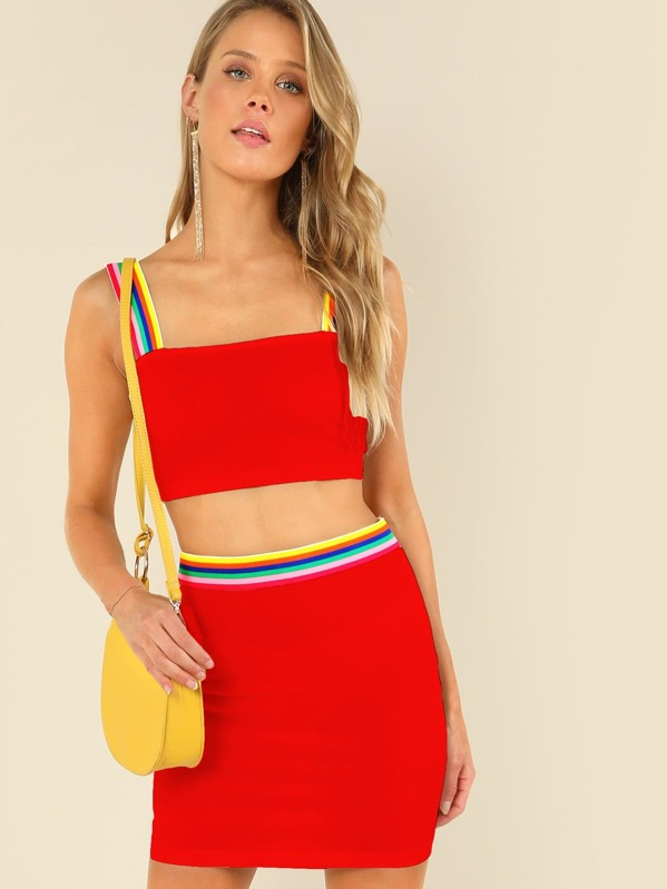 5e345f3746 Rainbow Striped Crop Top & Skirt Set   SHEIN