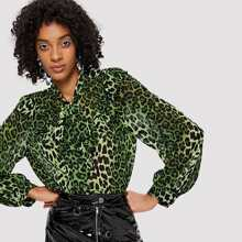 Ruffle Trim Leopard Print Shirt