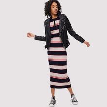 Button Front Colorblock Striped Rib Knit Dress dress180528713