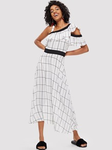 Asymmetrical Neck Flounce Trim Grid Dress