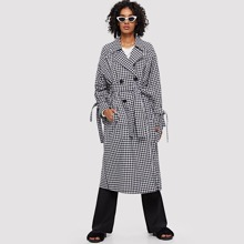 - Notch Collar Double Button Plaid Coat