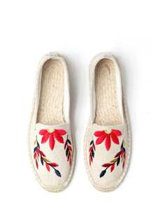 Maple Leaves Embroidery Espadrille Flats