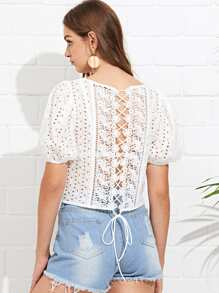 Eyelet Embroidered Lace Up Back Top