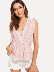 Double V Neck Pinstripe Ruffle Blouse