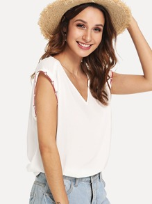 V-Neck Cap Sleeve Tunic Top