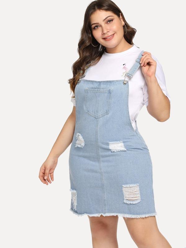 7954639e19 Plus Pocket Front Distressed Denim Overall Dress
