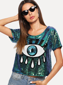 Eye Pattern Sequin Blouse