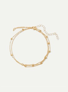 Metal Ball Detail Layered Chain Anklet