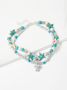 Starfish & Tortoise Layered Beaded Anklet