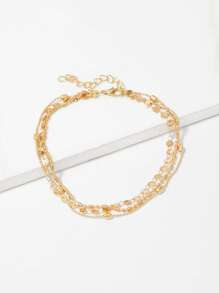 Disc Detail Layered Chain Anklet