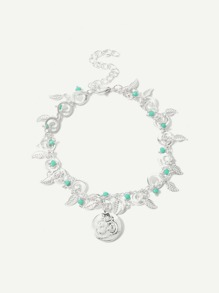 Leaf Decorated Layered Chain Anklet
