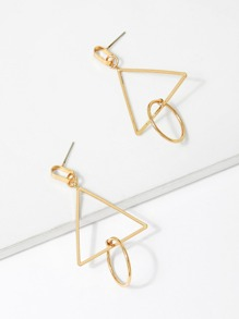 Open Triangle & Circle Drop Design Earrings