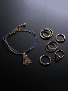 Spiral Detail Ring Set 7pcs & Bracelet 1pc