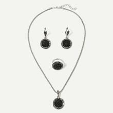 Glitter Pendant Necklace & Earrings & Ring