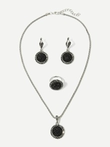 Glitter Pendant Necklace & Earrings & Ring Set