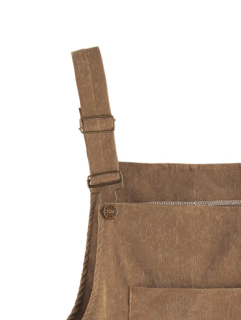 regard détaillé 836a4 7ee7e Salopette jupe en velours côtelé avec poches - kaki