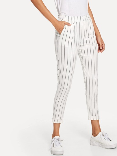 Pinstriped Elastic Waist Pants
