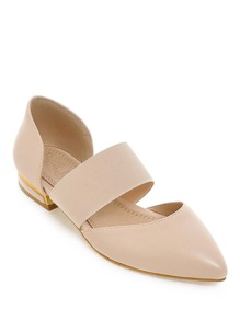 Pointed Toe Elastic Detail Ballet Flats