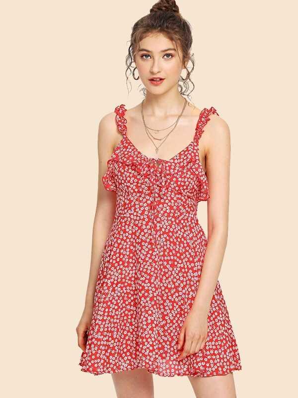 Vestido de tirante de espalda abierta fruncido con estampado floral ...
