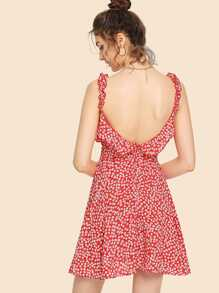 Floral Print Ruffle Backless Cami Dress