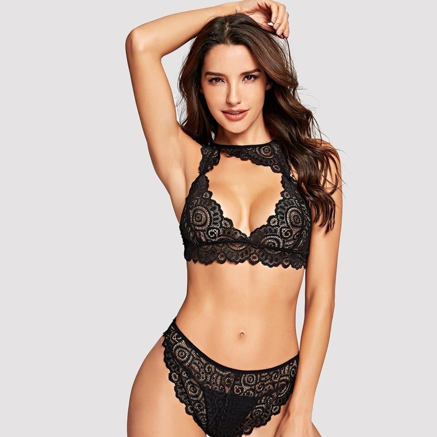 Scalloped Trim Lace Lingerie Set