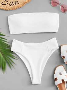 Ribbed Bandeau With High Leg Bikini Set