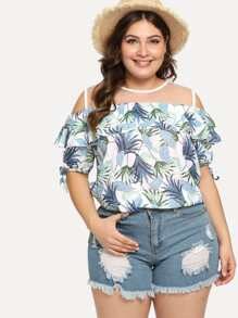 Plus Cold Shoulder Mesh Panel Blouse
