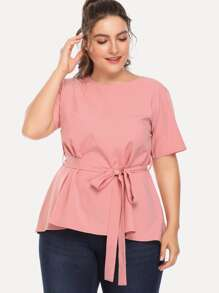 Plus Self Tie Waist Blouse