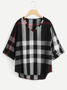 Plus v Neckline Dip Hem Checked Blouse