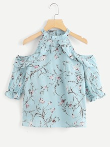 Open Shoulder Floral Print Top