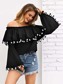Fringe Trim Off Shoulder Blouse