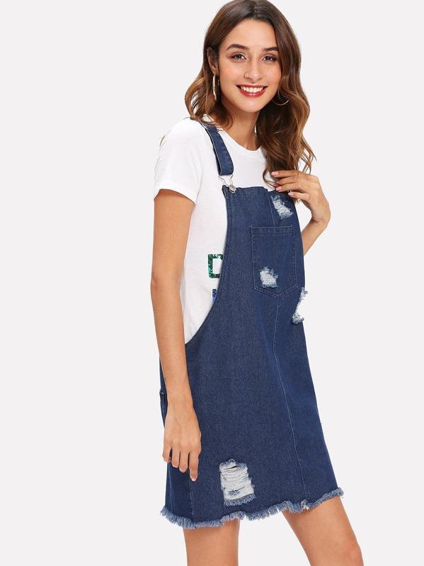 060f85cd4 Cheap Denim Raw Hem Ripped Pinafore Dress for sale Australia | SHEIN