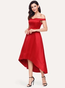 Off Shoulder Dip Hem Dress