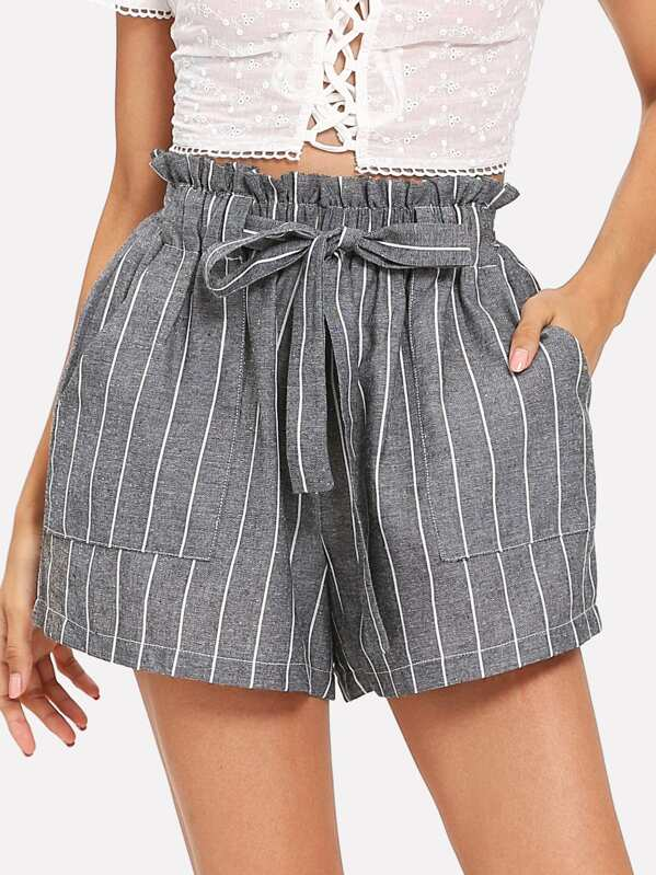 a86d72c9d9 Self Tie Waist Striped Paperbag Shorts | SHEIN IN