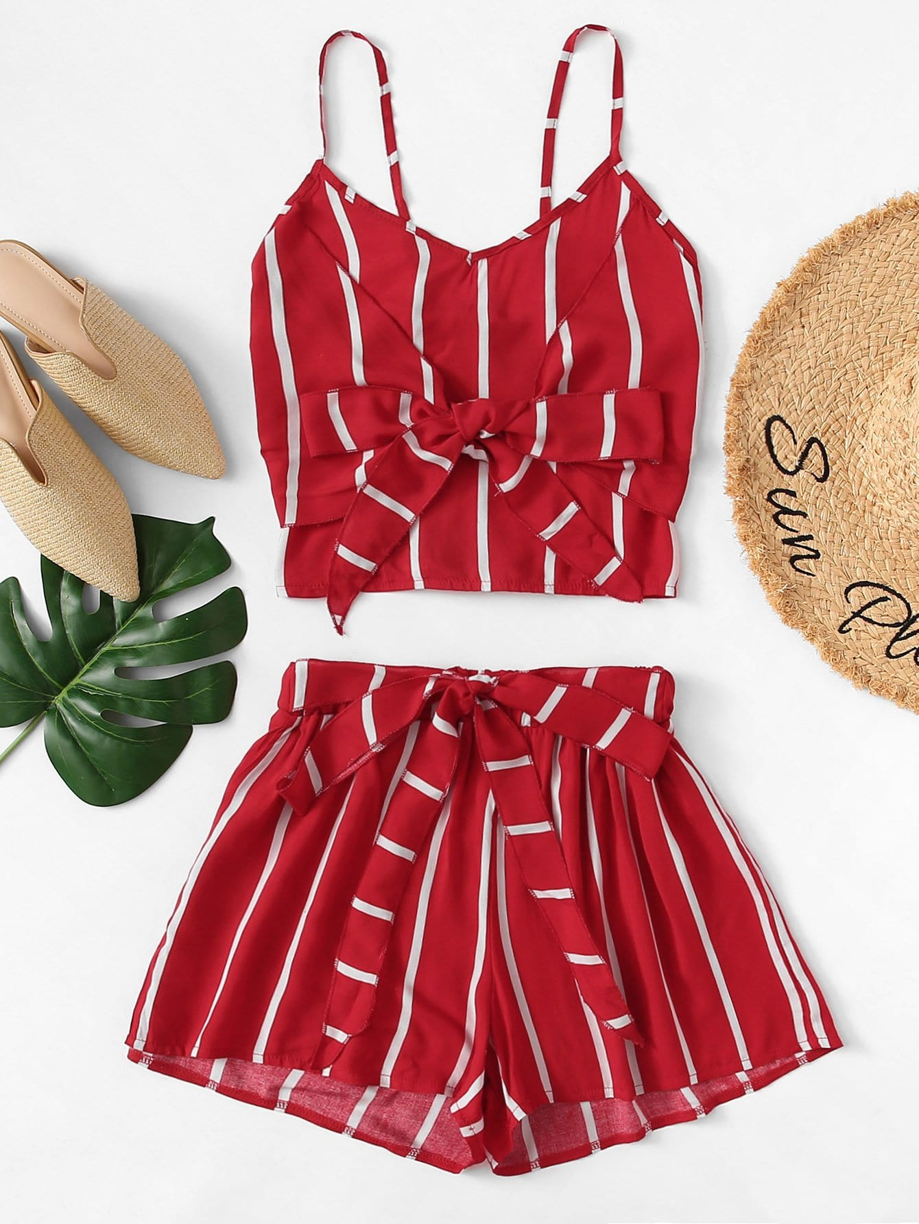 Knot Front Striped Cami Top With Shorts by Romwe