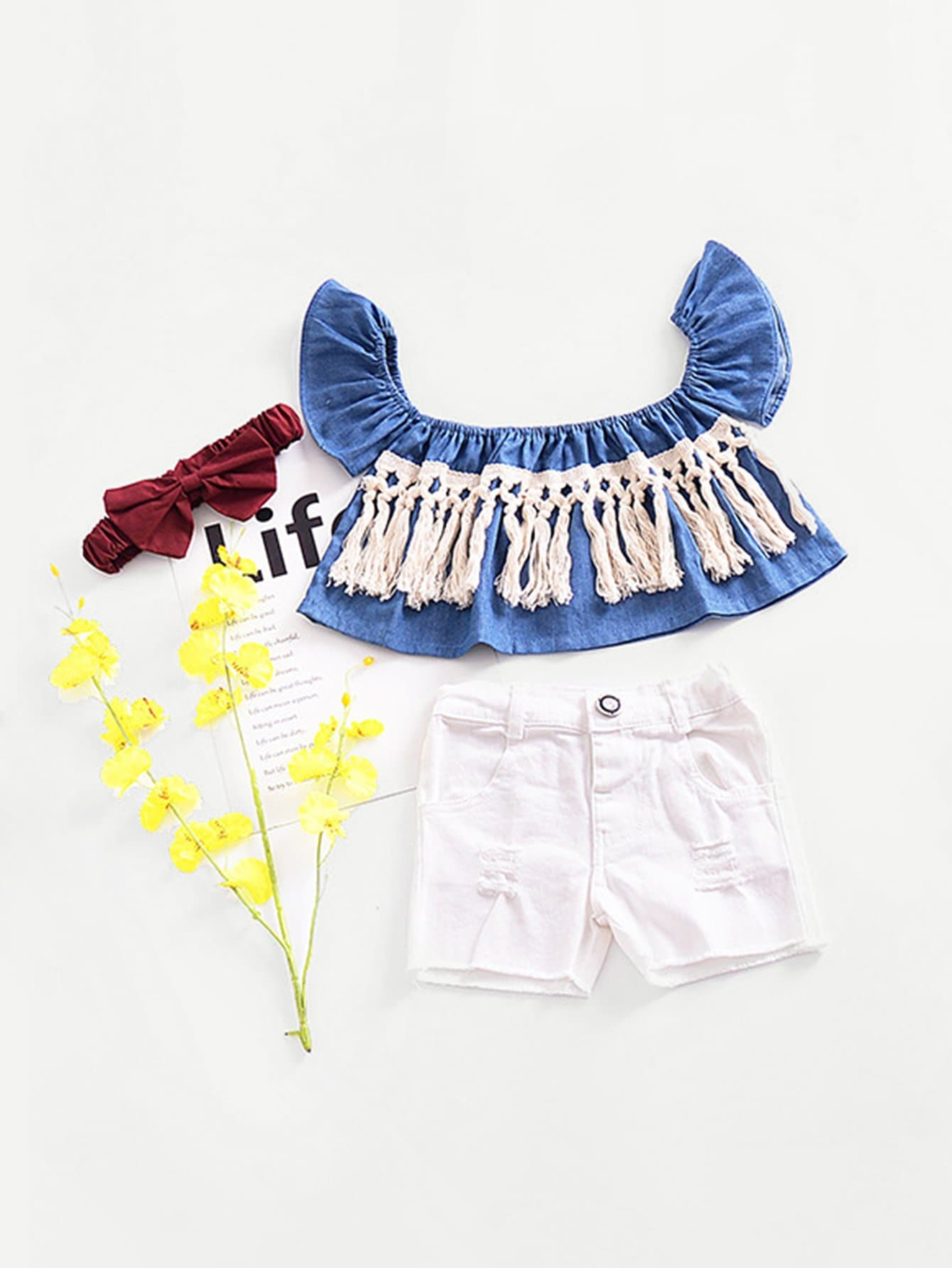 0781c11ccc Toddler Girls Fringe Crop Top With Destroyed Shorts EmmaCloth-Women ...