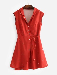 Tie Detail Wrap Shirt Dress
