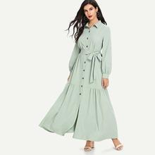 Ruffle Hem Button Up Belted Abaya