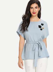 Flower Applique Belted Top