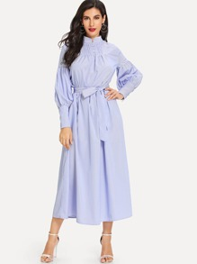 Bishop Sleeve Striped Dress with Belt