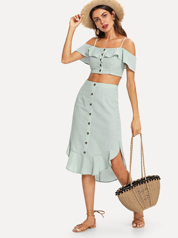 37417e3b5331ac Cold Shoulder Crop Top   Buttoned Skirt Set