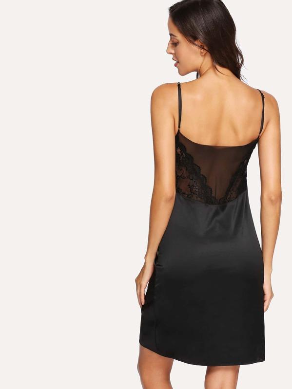dc4db245745c191 Кружевная ночная сорочка и стринги | SHEIN