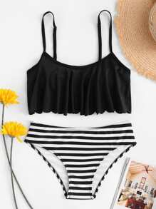 Flounce Top With Striped High Waist Bikini Set