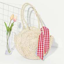 Girls Straw Handbag With Gingham Scarf bag180613604