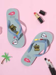 Crown & Lipstick Flip Flops