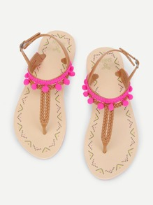 Pom Pom Detail Toe Post Sandals