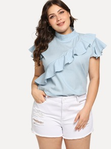 Plus Ruffle High Collar Denim Top