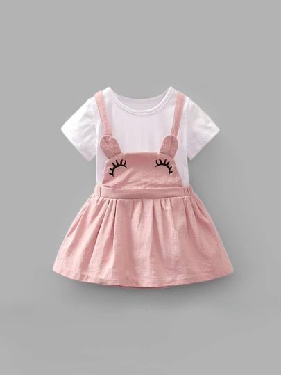 4e53f779ef566 Girls Embroidery Detail Criss Cross Back Combo Dress