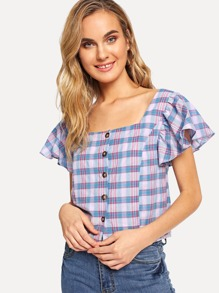 Plaid Butterfly Sleeve Single Breasted Blouse