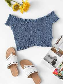 Frill Trim Shirring Crop Top